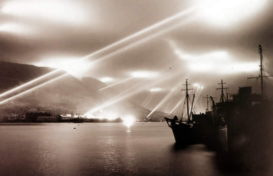 Searchlights over Gibralter WW II